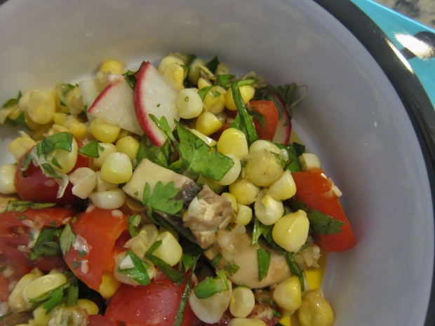 Corn and Mushroom Salad with Sesame VInaigrette