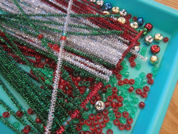 Threading Christmas Pipe Cleaners (6)